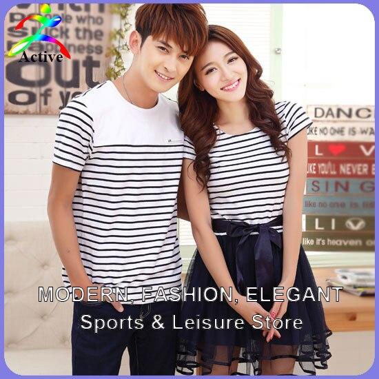 02570cf4ef5c Men Women Fashion Cute Korean Couple Clothes Lovers Summer Stripe Beach Casual  Wear Short Sleeve Matching Couple Shirts 3254f