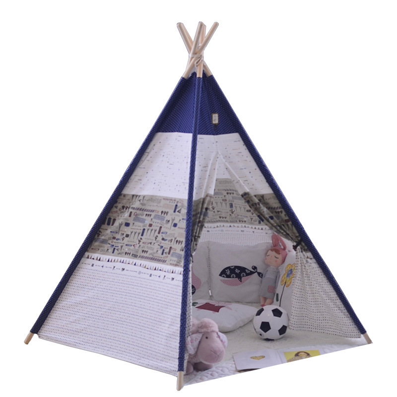 High Quality Cotton Canvas Children Tent 5 Wooden Poles Indian Play Teepees Kids Tipi Teepee Playhouse Baby Room Castle four poles kids play tent cotton canvas teepee children toy tent white pink blue playhouse for baby room tipi