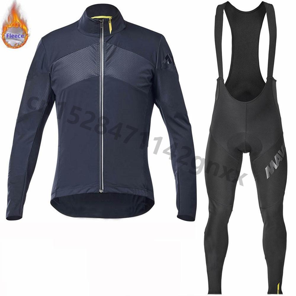 2019 New Mavic Cycling Jersey Men pro team Long Sleeve Set Winter Thermal Fleece MTB bike Cycling Clothing Maillot Ropa Ciclismo