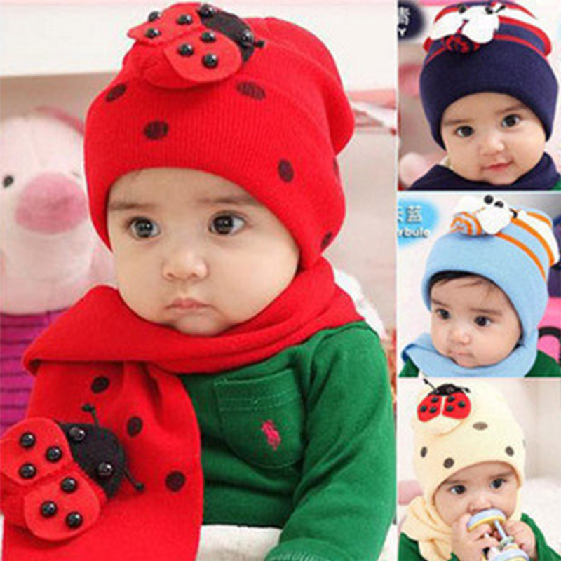 DreamShining Winter Warm Baby Hats Scarf Cute Ladybug Kids Boy Girl Caps Cotton Crochet Beanie Knitted Cap Infant Hat Scarf Sets goexplore neck scarf warm winter hat women caps men ski hat skullies beanies knitted hats snow outdoor sport fleece cap for male