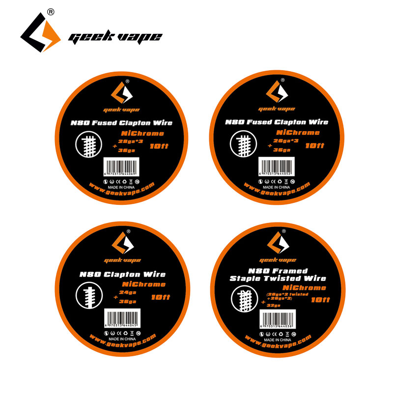 Original 10ft GeekVape <font><b>N80</b></font> Fused Clapton <font><b>Wire</b></font> Framed Staple Twisted <font><b>Wire</b></font> E-cig DIY Coil <font><b>Wire</b></font> for RDA/RTA/RDTA Atomizer Coil image