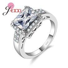 JEXXI Fine S90 Silver Ring Women Wedding Jewelry Accessory Luxury Fashion Rectangle Finger Ring