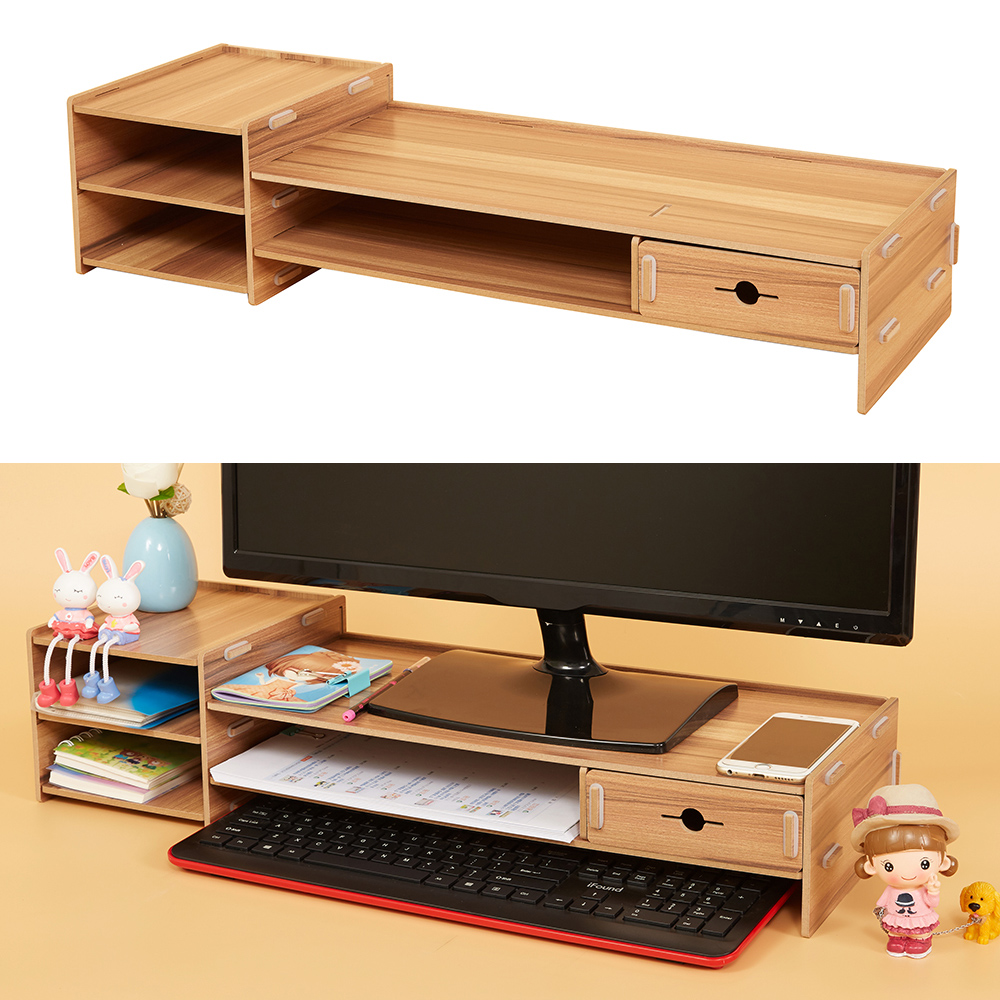 4efbce0e373b US $35.25 19% OFF|Self assembly Desk Organizer Monitor Riser Stand Desk  Organizer Storage Tray Large Size for Office School Supplies-in Desk Set  from ...