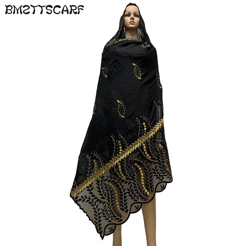 2019 New Design African Women Scarfs Shining Embroidered Muslim   Scarf   Cotton splicing Net material   scarf   Shawls   Wraps   BM717