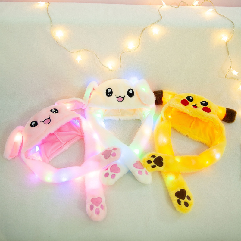 New Luminous Hat Cute Rabbit Child Pinch Ears Will Move Cute Children Pikachu Net Red Funny Gift Toy For Girls Girlfriend