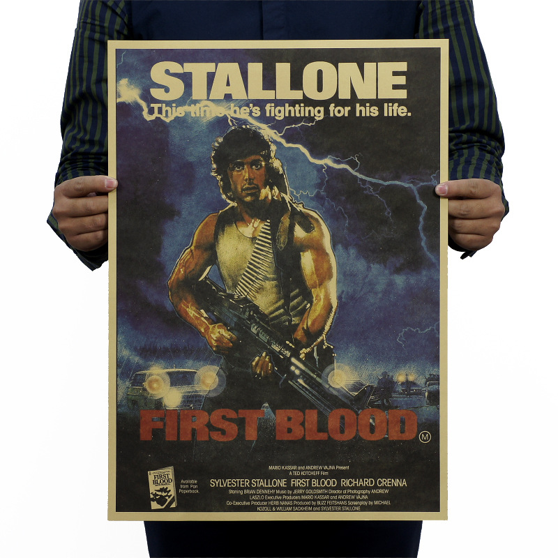 First Blood Part 1/Rambo Classic Movie/kraft Paper/bar Poster/Retro Poster/decorative Painting 51x35.5cm