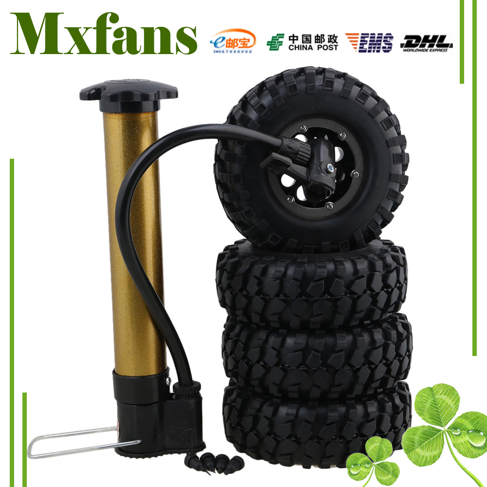 Mxfans 4 x 1.9 108mm Gravel Pattern Inflatable Rubber Tires 8 Hole Plastic Wheel Rim for RC1:10 Crawler Car 4pcs rc crawler truck 1 9 inch rubber tires