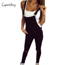 goodbuy 2017 summer womens denim overalls solid jumpsuits office casual hole pocket sleeveless jumpsuits pencil pant real photo