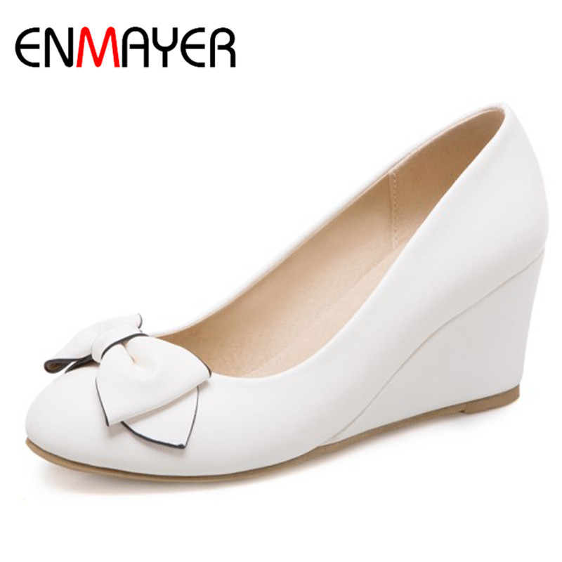ENMAYER Pumps Wedge Heels Shoes Plus Size 34 43 Beige Blue Pink Round Toe Bowties Charms