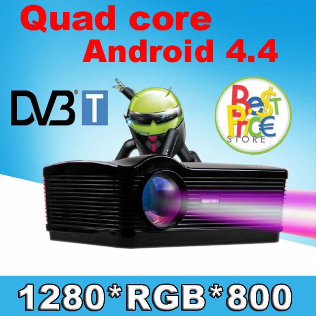 Con TDT TV 5500 lúmenes Android 4.4 1080 P wifi led proyector 3d full hd de cine en casa lcd proyector de vídeo projektor Envío regalo