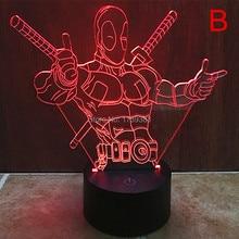 Free Ship 7 Color Changing Hero Deadpool 3D LED Night Light USB LED Decorative LED font