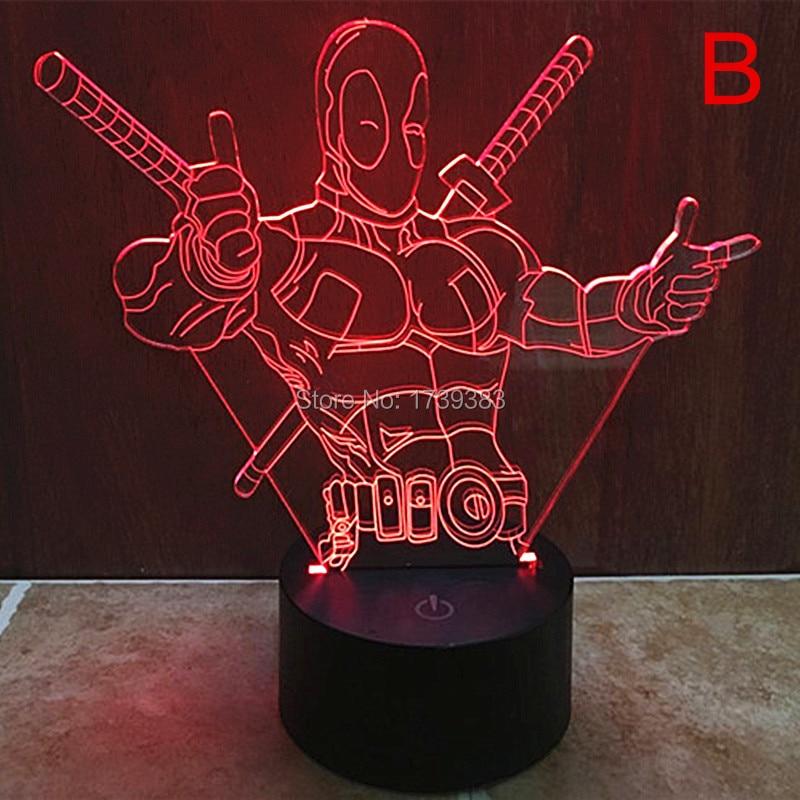 Free Ship 7 Color Changing Hero Deadpool 3D font b LED b font font b Night