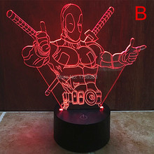 Free Ship 7 Color Changing Hero Deadpool 3D LED Night Light USB LED Decorative LED Table Lamp Colorful Desk Lighting