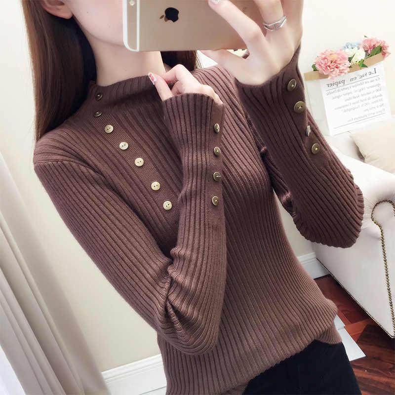 Versie, zelfontplooiing, pure kleur gebreide trui, 2018 herfst en winter nieuwe stijl lange mouwen jumper trui.
