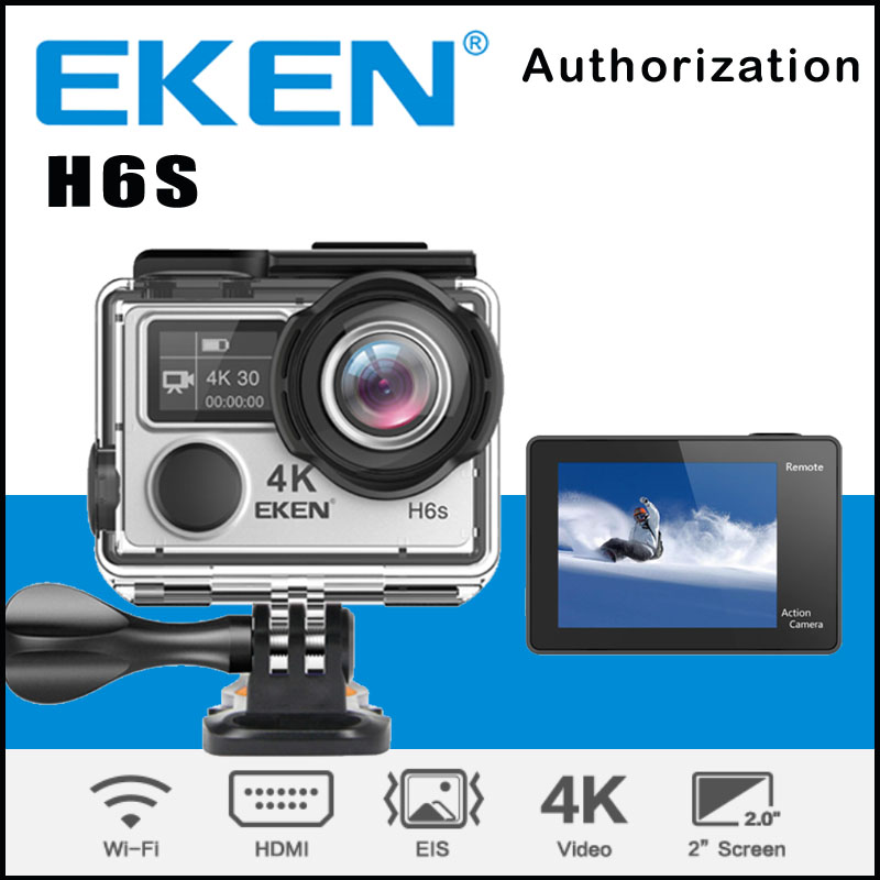 EKEN H6S Ambarella A12 WIFI 4K 30FPS Action Camera 14MP EIS Image Stabilization 30M waterproof 170 degree 1080p sport cam 2017 arrival original eken action camera h9 h9r 4k sport camera with remote hd wifi 1080p 30fps go waterproof pro actoin cam