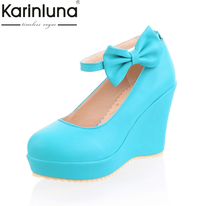 KarinLuna New Plus Size 33-43 Sweet Bow Platform Lady Spring Pumps Shoes Women Fashion Wedges High Heels Party Woman Shoes egonery new sweet lady round toe faux leather slip air spring dress women pumps heels shoes plus size us 12