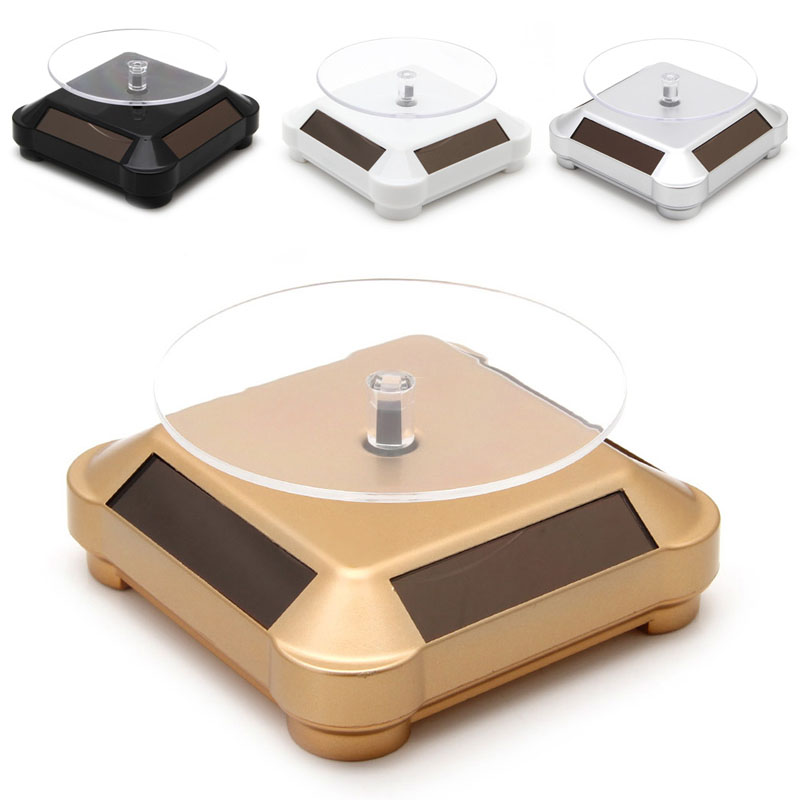 Solar Power Double-Use 360 Rotating Display Stand Table For Phone Watch Jewelry