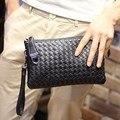 Новая Мода вязание мужская сцепления сумка PU кожа Мужчины длинный кошелек сцепления вечерняя сумочка Черный клатчи Сумки унисекс