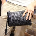 New Fashion knitting Men's clutch bag PU leather Men long wallet clutch evening bag Black clutches Handbags unisex