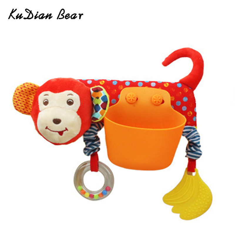 KUDIAN BEAR Baby Toys Cartoon Baby Rattles with Teethers Mobile Bed for Dolls Newborn Toys Stroller Storage Case BYC187 PT49