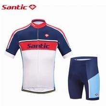 Santic Men Cycling Jersey Kits Anti-UV Racing Team Sports Wear MTB Road Bicycle Jersey Cycling Clothing Males S-3XL WM6CT056B