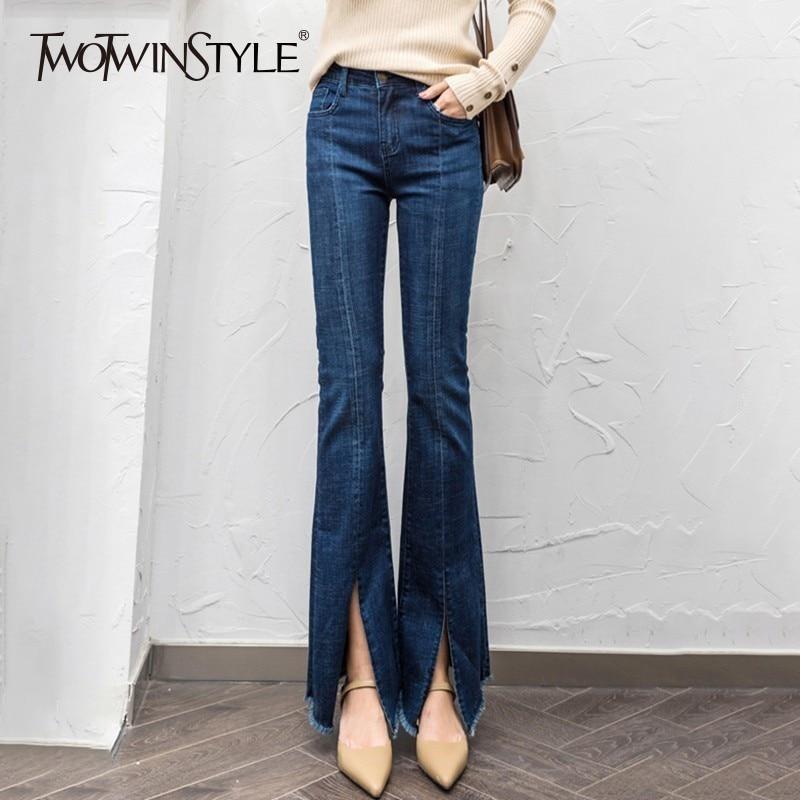 TWOTWINSTYLE Denim Flare Pants Women Tassel Split High Waist Casual Jeans Trousers Women Large Sizes Fashion