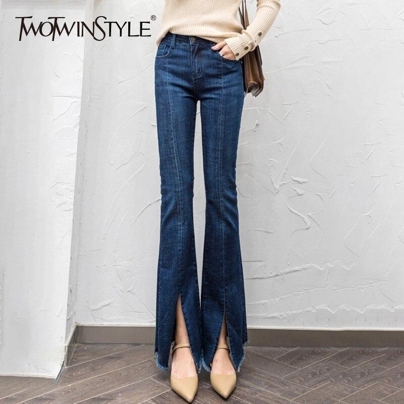 TWOTWINSTYLE Denim Flare Pants Women Tassel Split High Waist Casual Jeans Trousers Women Large Sizes Fashion 2018 Autumn New