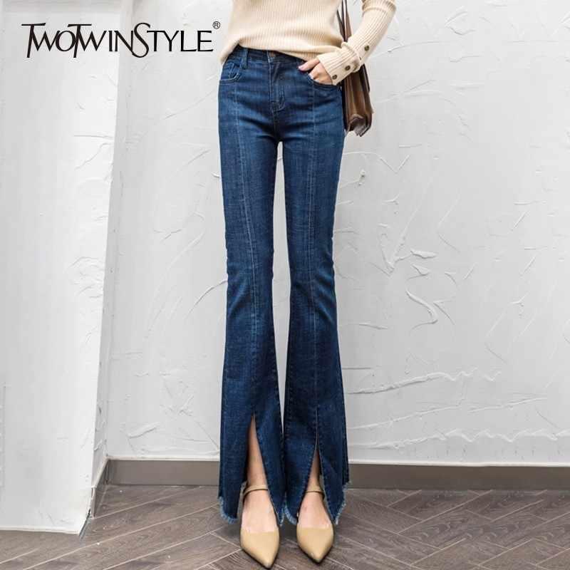 TWOTWINSTYLE винтажные женские джинсы женские с бахромой с разрезом и высокой талией повседневные джинсы женские Большие Размеры Мода 2018 Осень новинка