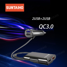 Suntaiho 4 Ports USB Car Charger QC 3.0+2.4A+3.1A Universal USB Fast Charger Adapter with 5.6ft Extension Cord Cable Back Seat