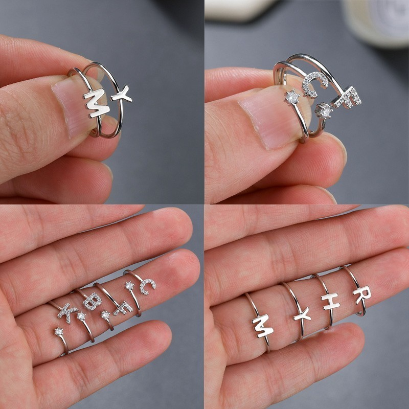 Initial-Ring Ring-Jewelry Crystal-Letter Rhinestone Opening Name Handmade Silver A-Z