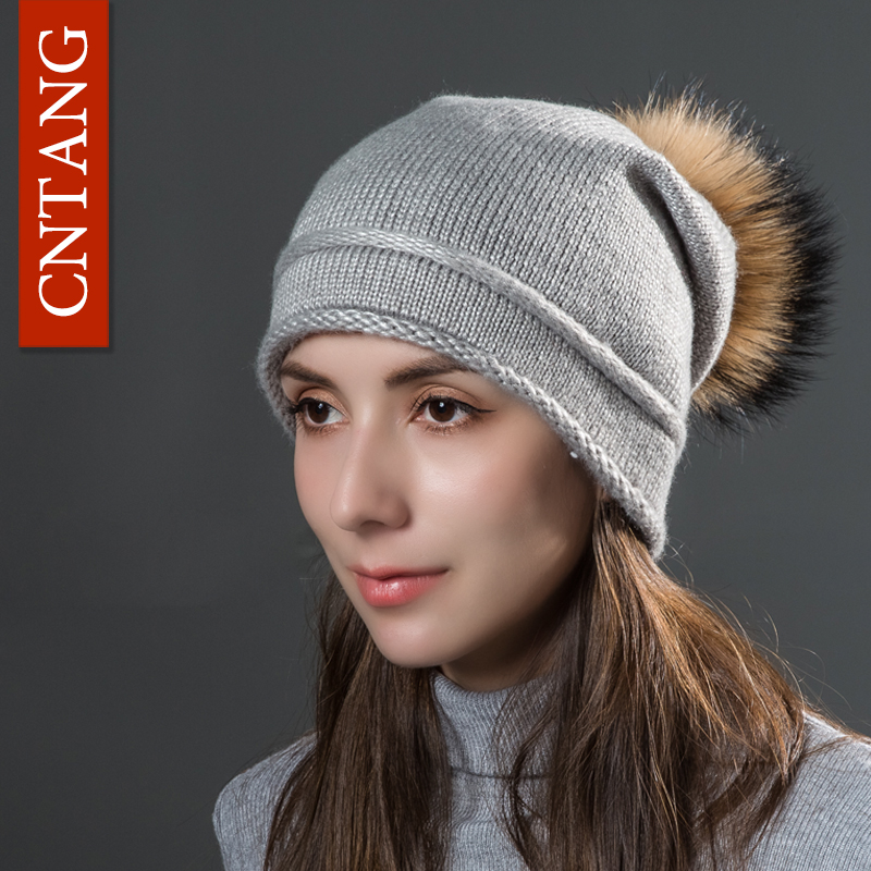 CNTANG Autumn Women's Crimping Knitted Caps Fashion With Natural Raccoon Fur Pompom Hats Warm Winter Thin Hat   Skullies     Beanies