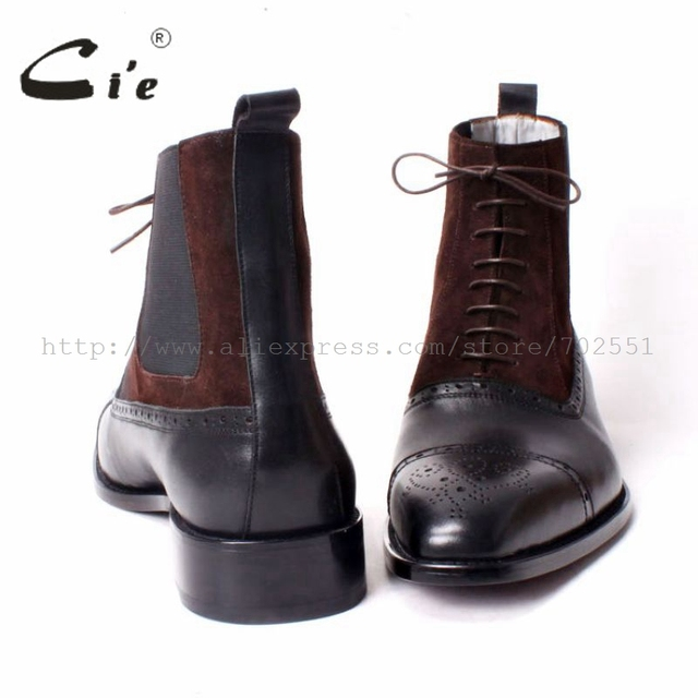 cie Free shipping custom bespoke handmade calf leather upper inner outsole Square toe semi-brogue lace-up boot brown/black A65