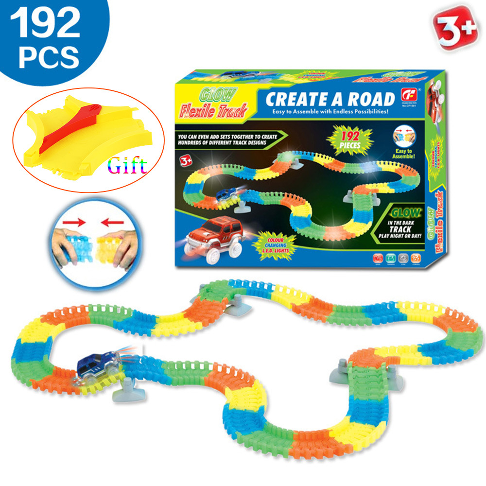 192PCS Miraculous Magic Glowing Race Track Bend Flex Flash in the Dark Assembly Car Toy Glow Racing Track Set for Childrens Gift