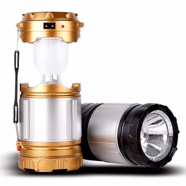 LED Lanterna Portátil 2 em 1 Energia Solar Portátil Lanterna À Prova de Choque Para Casa Garden Night Light para Camping Caminhadas Furacão