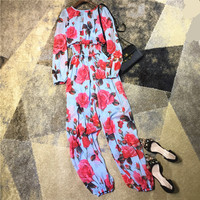 High Quality Women Fashion Sexy Bodysuit Jumpsuit Floral Patterns Print Brand Long Sleeve Overalls New Arrival