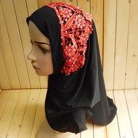 Mu210 لينة حافة يزين الترتر الرباط مسلم سيدة قبعات 12 قطع لكل عشرة إيتي الأزياء الحجاب الإسلامي 2017 جديد نمط العربية العمامة