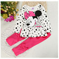 2016 New Fashion Girls Clothing Sets Minnie Bow Tops Suit Girl Toddler Outfits Kids Boutique Clothing Toddler Girl Clothes