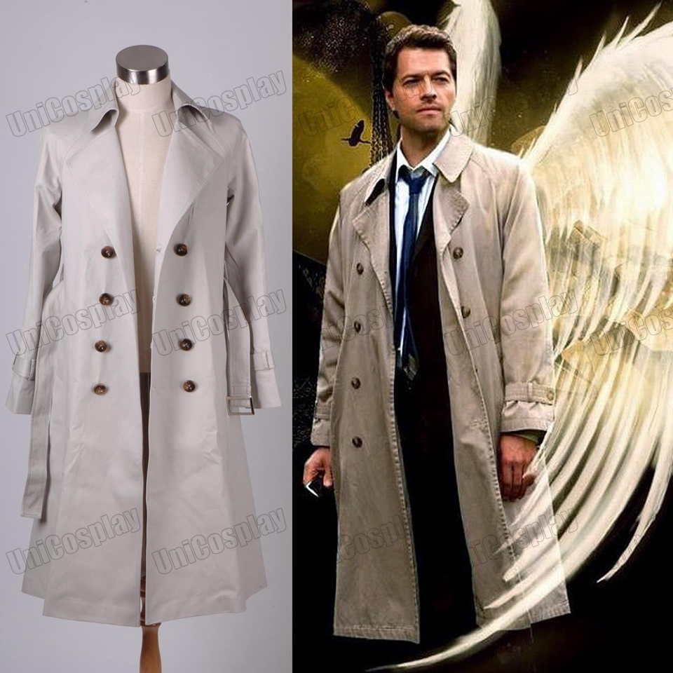 Supernatural Castiel Twill Trench Coat Cosplay Costume Halloween Christmas Costume