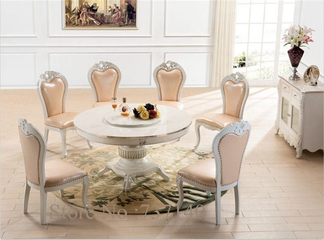 Round Dining Table Dining Chair Wood Table Round Retro Table White  Furniture Luxury Dining Room Set