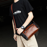 2019 New Cool Fashion Panelled Men Bag Vintage Crazy Horse Leather Men Messenger Bags Korean Casual Shoulder Crossbody Bags
