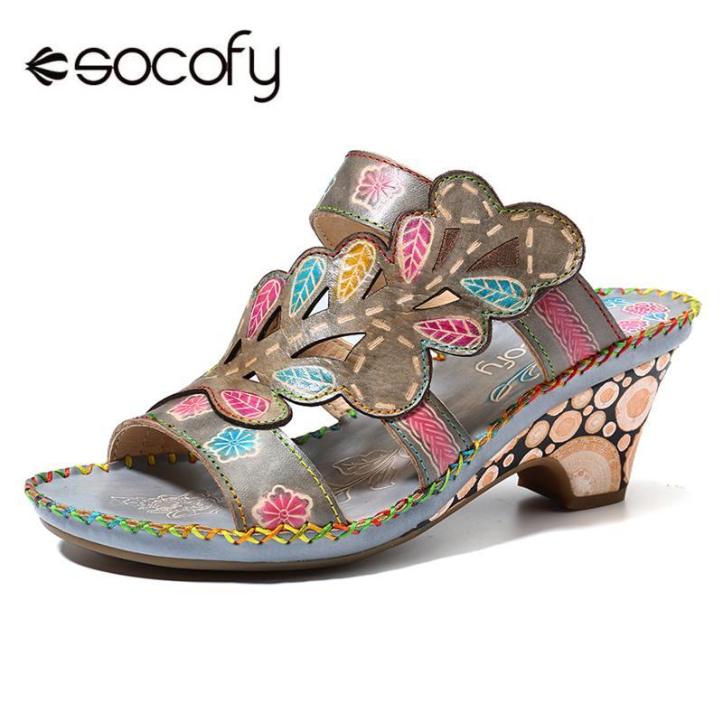 SOCOFY Bohemia Sandals High Heel Handmade Genuine Leather Adjustable Hook Loop Slip On Stitching Sandals Woman Elegant Shoes