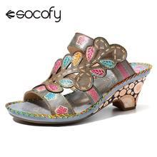 SOCOFY Bohemia Sandals High Heel Handmade Genuine Leather Adjustable Hook Loop S
