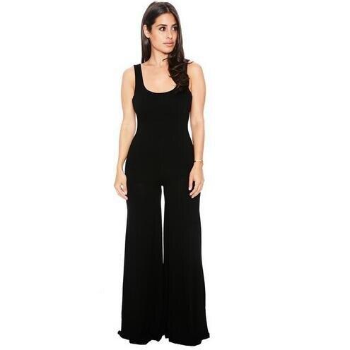 #1507 2018 Mode Bodycon Jumpsuit Losse Vrouwen Jumpsuit Lange Broek Sexy Zwart/bruin Een Stuk Romper Casual Breed Been Broek