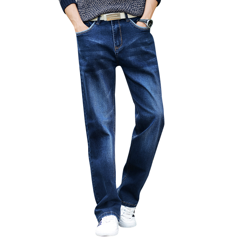 Mens Wide Leg Jeans Slightly Flared Slim Fit Famous Brand Blue Black Jeans Designer Classic Male Stretch Denim Jeans