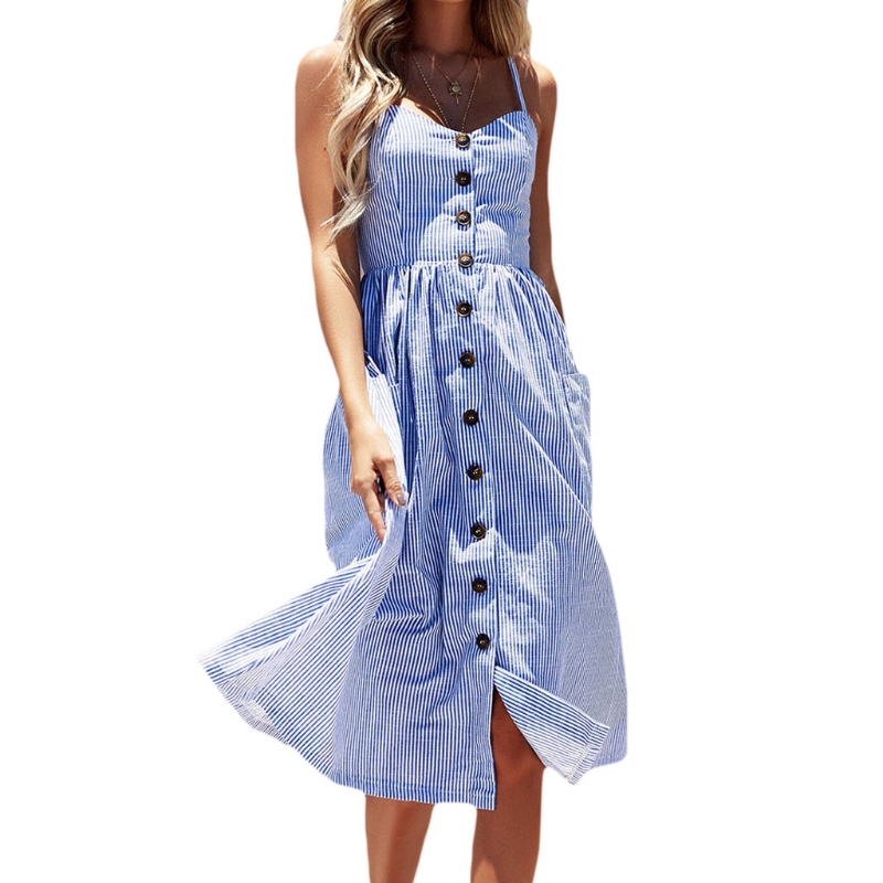 Striped button sexy casual summer strap dress Long boho beach pockets women sundress vestidos Elegant daily dess female