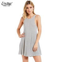 2017new Summer Short Casual Dress Women Striped Sleeveless Loose Style O Neck Sport Elegant Comfortable Dress