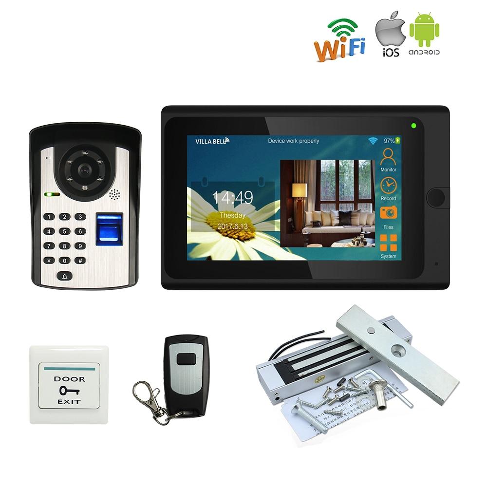 "WIFI 7/"" Video Intercom Door Phone Record System Phone Remote Unlock RFID Camera"