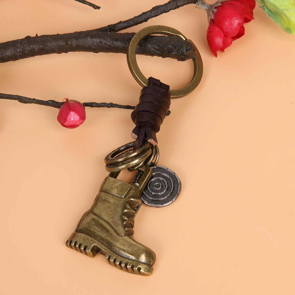 Erkekler Vintage Deri Araba Takılar Alaşım Serin Askeri Botlar Anahtarlık Charm Çanta çanta Anahtarlık Anahtarlık Örgülü Parti Anahtar Kolye