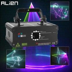 ALIEN 500 мВт 1 Вт RGB Полноцветный анимационный лазерный прожектор DMX луч Сканер DJ диско вечерние бар праздник Рождество сценическое освещение