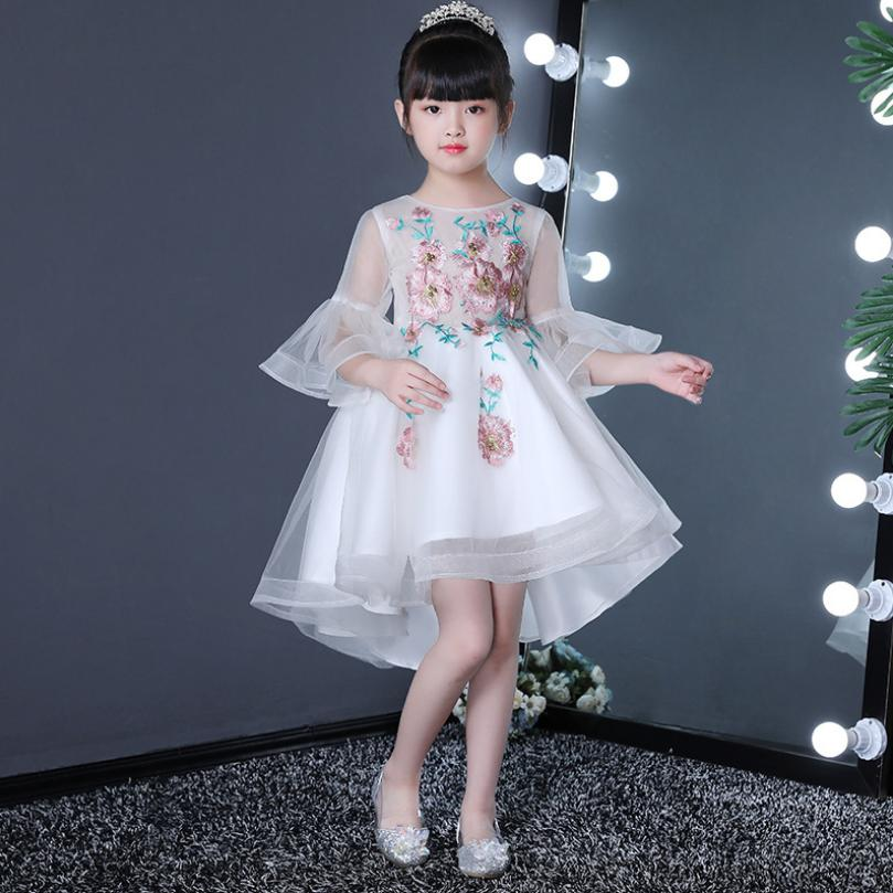 Baby Girl Mesh Princess Dress Prom Ball Gown Embroidery Flower Trailing Party Dress Children First Communion Dress Vestidos Y931Baby Girl Mesh Princess Dress Prom Ball Gown Embroidery Flower Trailing Party Dress Children First Communion Dress Vestidos Y931